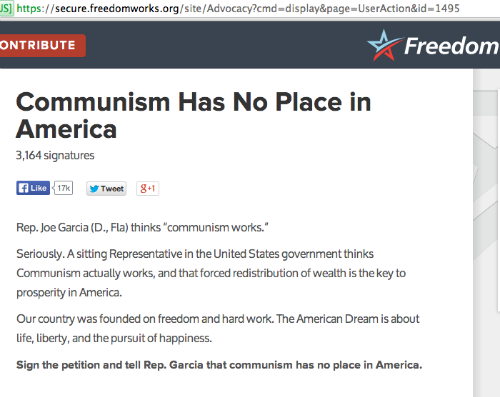 FreedomWorks accuses Rep. Joe Garcia of being a supporter of Communism