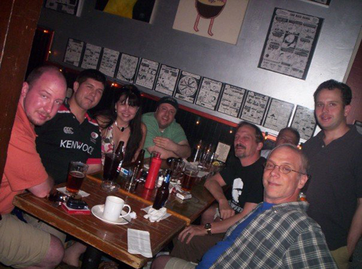 A Free Liberal Sunday Night Social at the Galaxy Hut: (clockwise from left) Kevin Rollins, Jesse Benton, Deborah Gordon, Norman Singleton, Jim Turbett, Steve Gordon, Jamie Plummer, and Bob Capozzi.